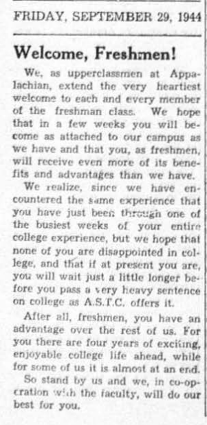 1944 Welcome Freshman article from The Appalachian (student newspaper)