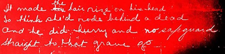 Handwritten lyrics from The Suffolk Miracle