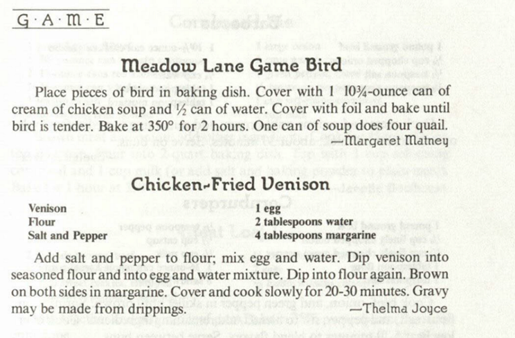 Game bird and game venison recipes