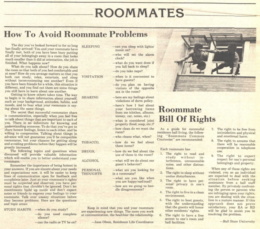 """1982 article on """"How to Avoid Roommate Problems"""" from The Appalachian student newspaper"""