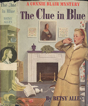Cover of The Clue in Blue showing a woman looking upset in a disheveled room.