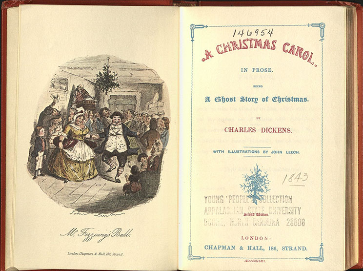 Dickens title page spread--A facsimile of A Christmas Carol, with a hand-colored illustration by John Leech and the title page.  Part of the General Rare Book collection.