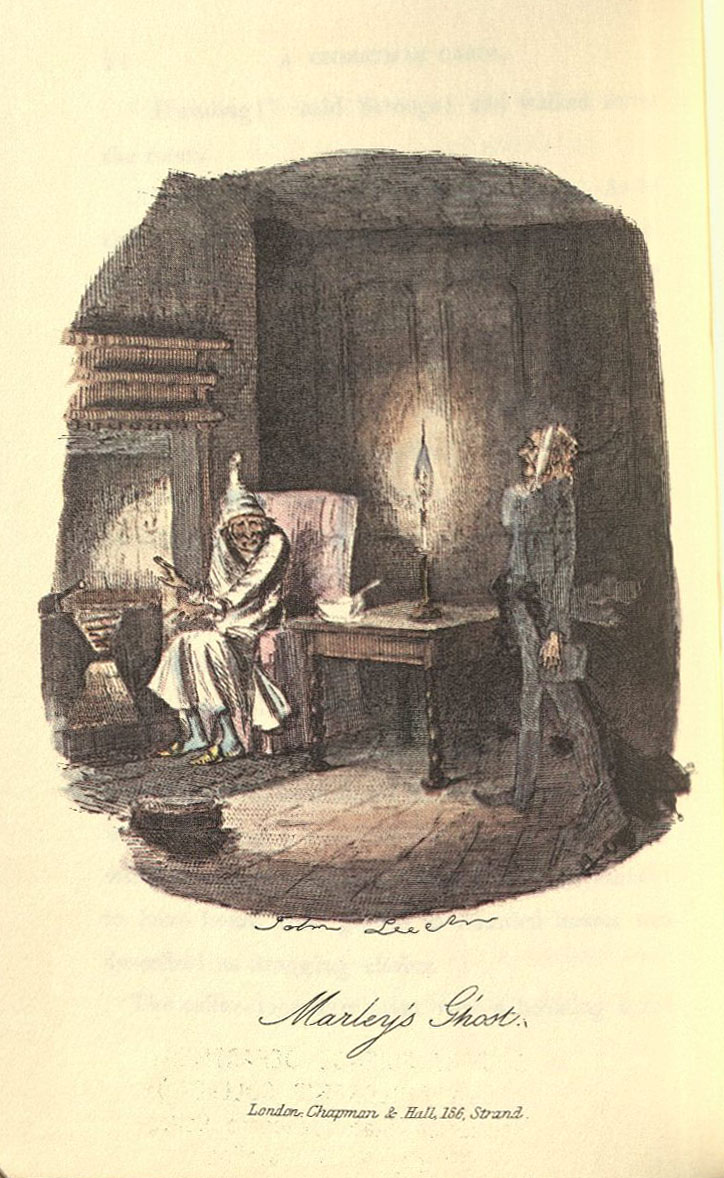 Marley's Ghost illustration--From a facsimile of A Christmas Carol.  Note John Leech's signature under the engraving.  Part of the General Rare Book collection.