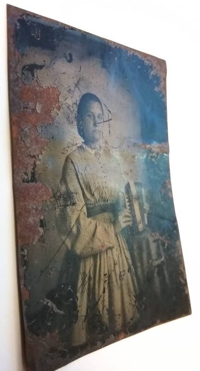 Photo caption: Tintype of Ellen Caroline Bartlett Dougherty, undated.