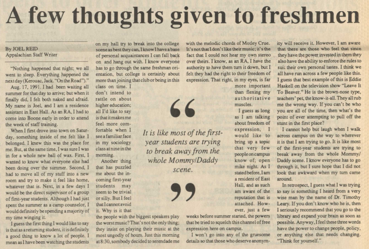 This 1991 article encouraged students to think for themselves