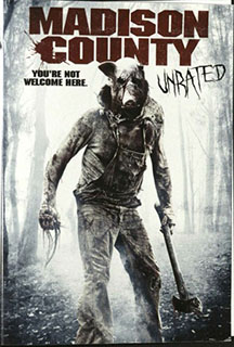 Cover of Madison County Unrated DVD with a figure of a pig-headed person.