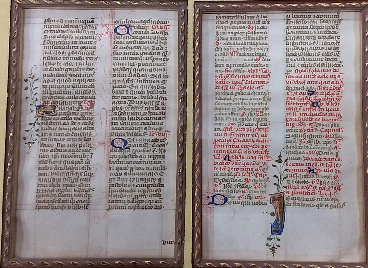 Illuminated manuscript leaves from a medieval Sarum Rite breviary