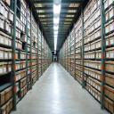 Records boxes archived on shelves