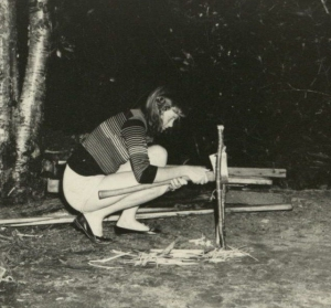 Girl starting a fire, Camp Yonahlossee